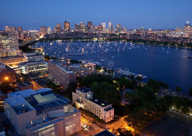 Vista aérea de Cambridge e de Boston foto de stock royalty free