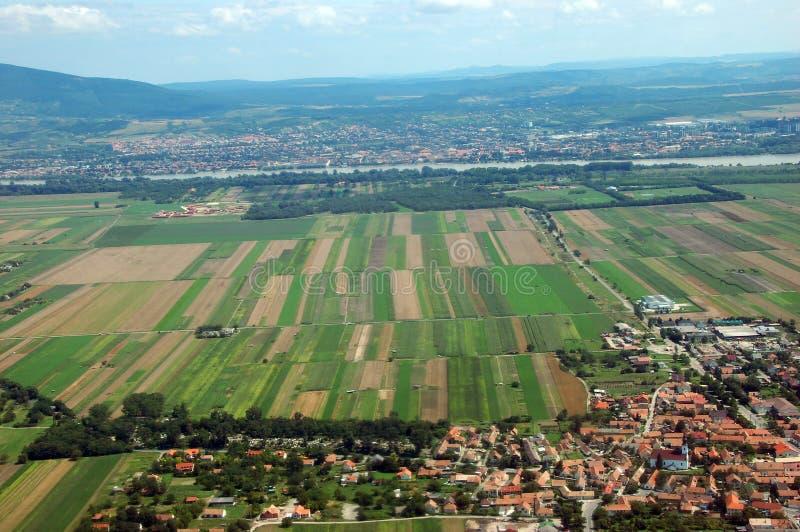 Vista aérea de campos fotos de archivo