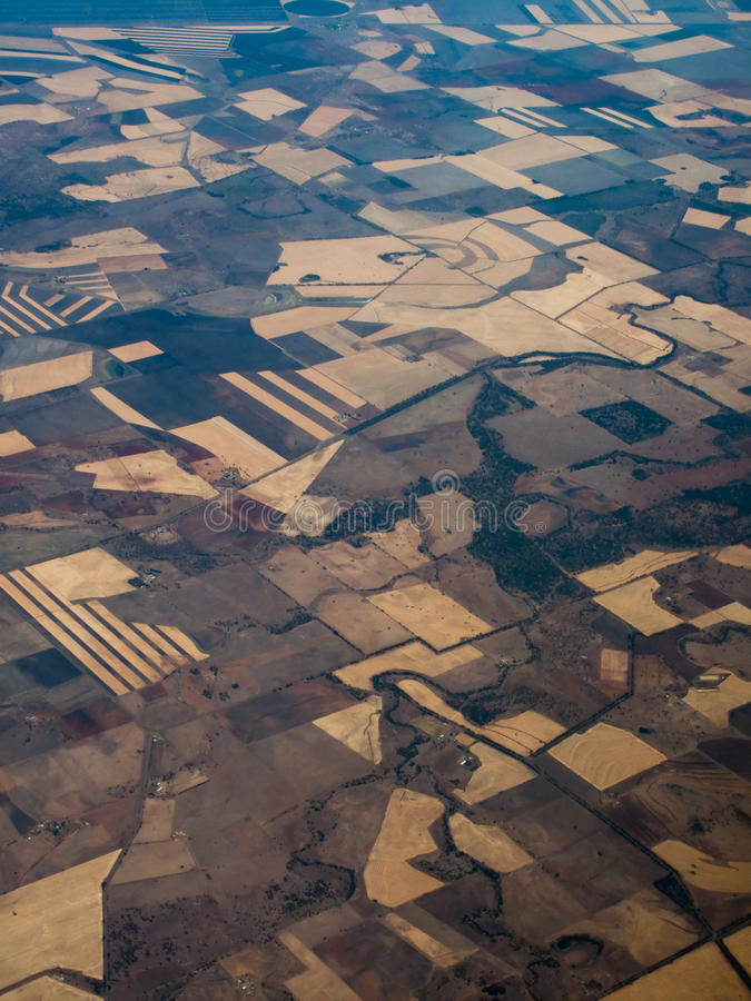 Vista aérea de campos en el AU de Queensland foto de archivo libre de regalías