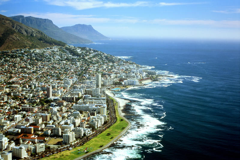 Vista aérea de Cape Town, África do Sul fotografia de stock