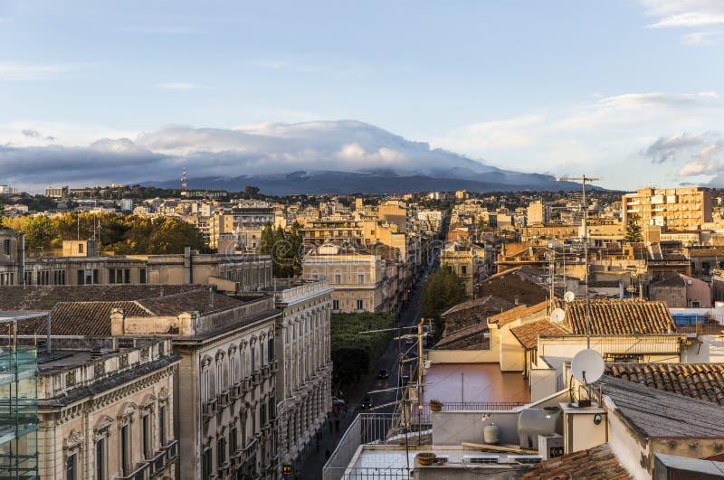 Vista aérea de Catania, Italia foto de archivo libre de regalías