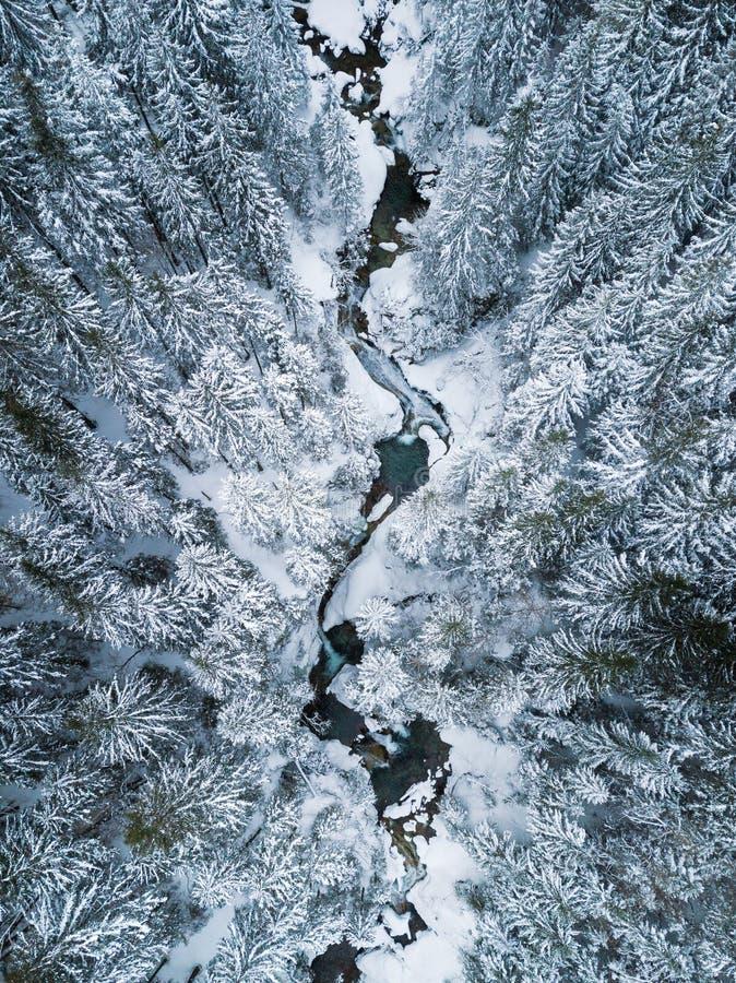 Vista aérea de The Creek en montañas foto de archivo
