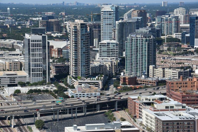 Vista aérea de Dallas, Tejas fotos de archivo