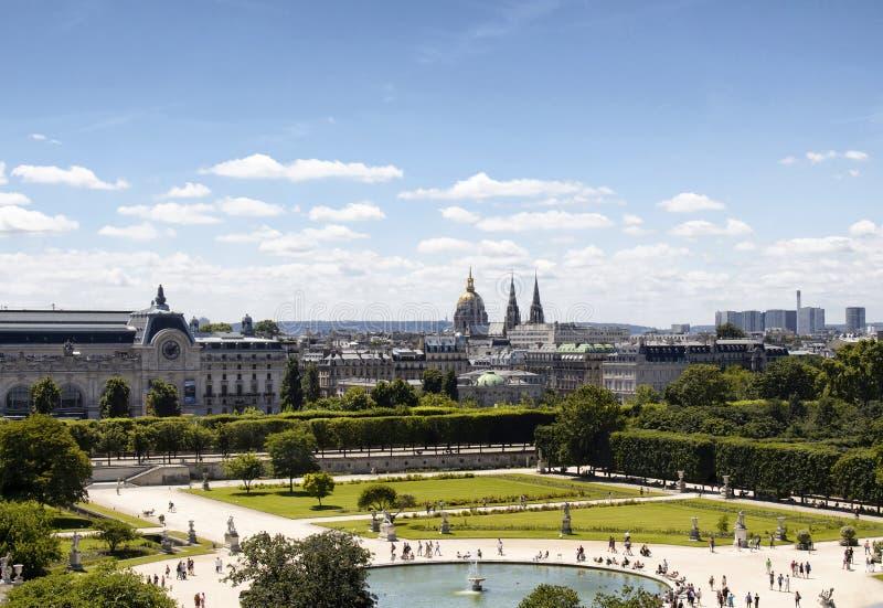 Vista aérea de DES Tuileries de Jardin fotografia de stock royalty free