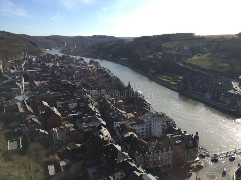 Vista aérea de Dinant (Bélgica) fotografia de stock royalty free
