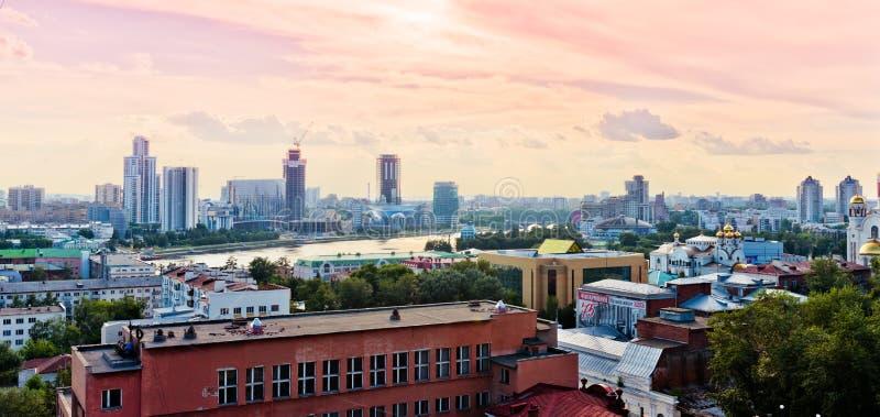Vista aérea de Ekaterimburgo el 26 de junio de 2013 foto de archivo