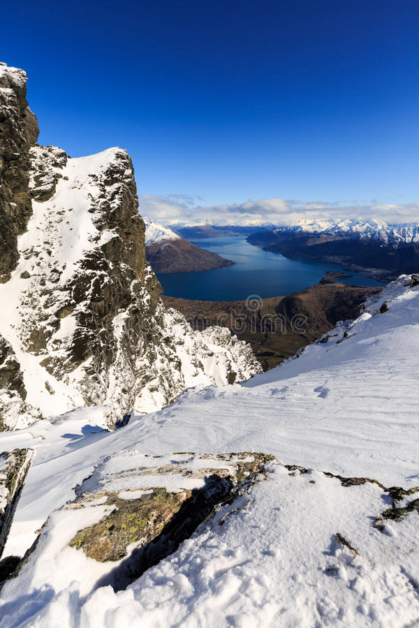 Vista aérea de Frankton y del lago WakatipuQueenstown, Nueva Zelanda imágenes de archivo libres de regalías