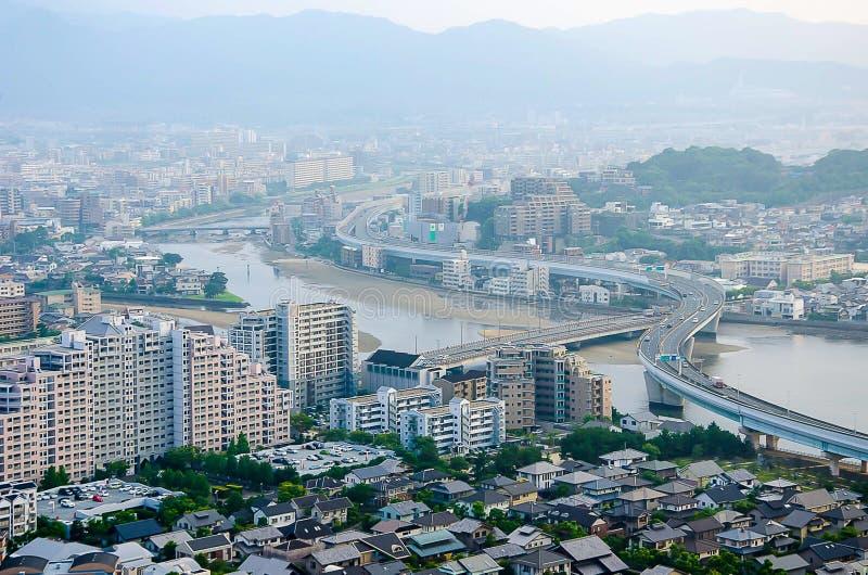 Vista aérea de Fukuoka imagem de stock
