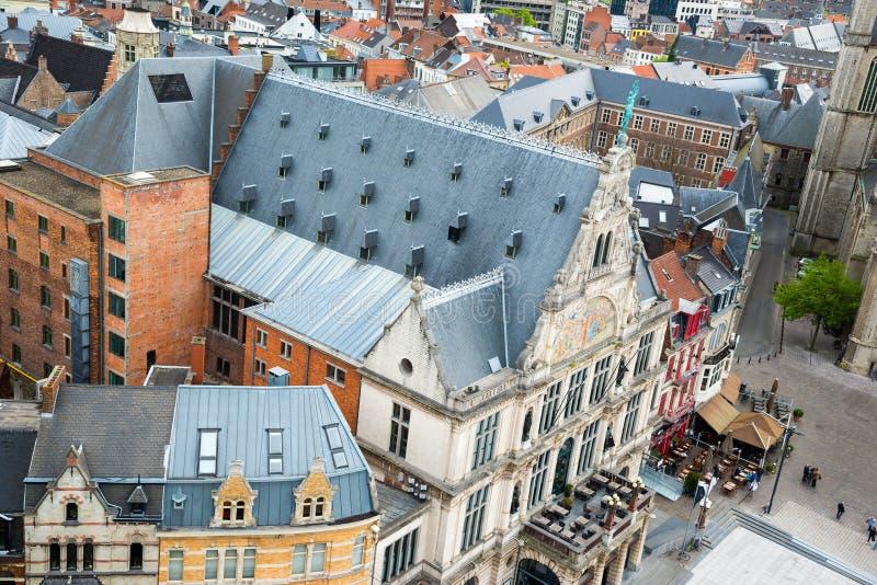 Vista aérea de Gante del campanario - edificios medievales hermosos bélgica imagen de archivo libre de regalías