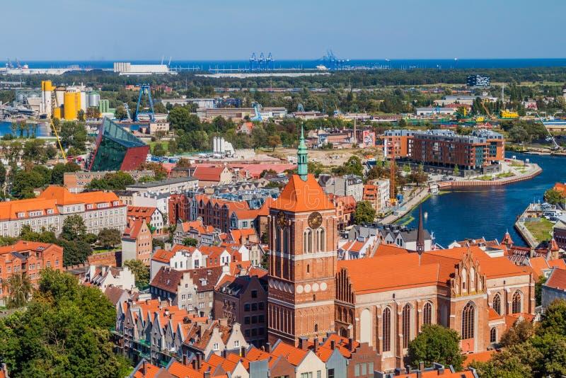 Vista aérea de Gdansk, Polônia Tomado da torre do Churc de St Mary fotos de stock