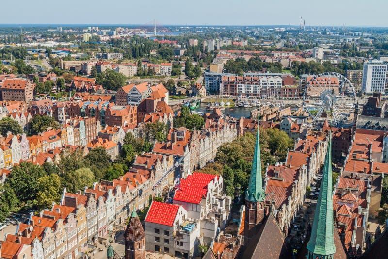 Vista aérea de Gdansk, Polônia Tomado da torre do Churc de St Mary foto de stock