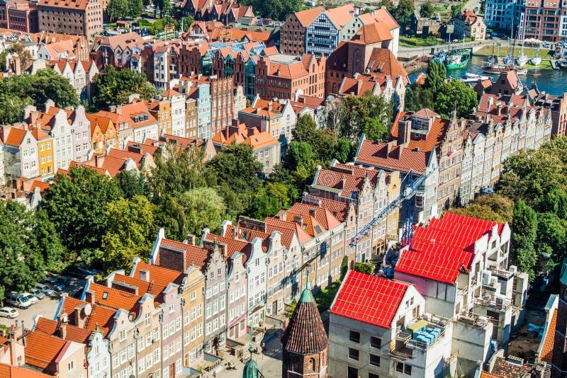 Vista aérea de Gdansk, Polônia Tomado da torre do Churc de St Mary imagem de stock royalty free