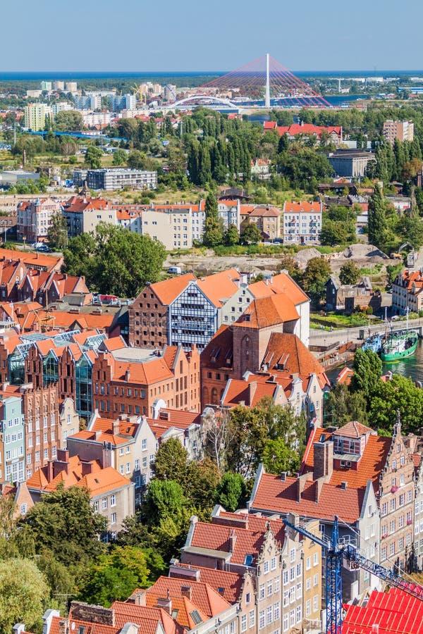 Vista aérea de Gdansk, Polônia Tomado da torre do Churc de St Mary foto de stock royalty free