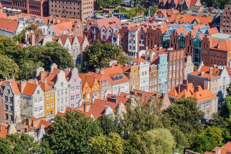 Vista aérea de Gdansk, Polônia Tomado da torre do Churc de St Mary fotografia de stock