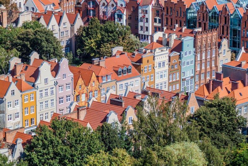 Vista aérea de Gdansk, Polônia Tomado da torre do Churc de St Mary imagens de stock royalty free