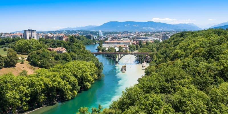 Vista aérea de Genebra em Suíça fotos de stock royalty free