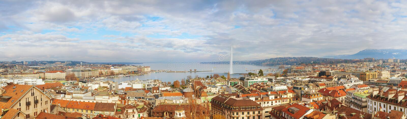 Vista aérea de Genebra, Suíça foto de stock royalty free