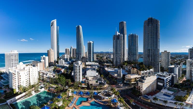 Vista aérea de Gold Coast, hogar para los juegos 2018 de la Commonwealth fotografía de archivo