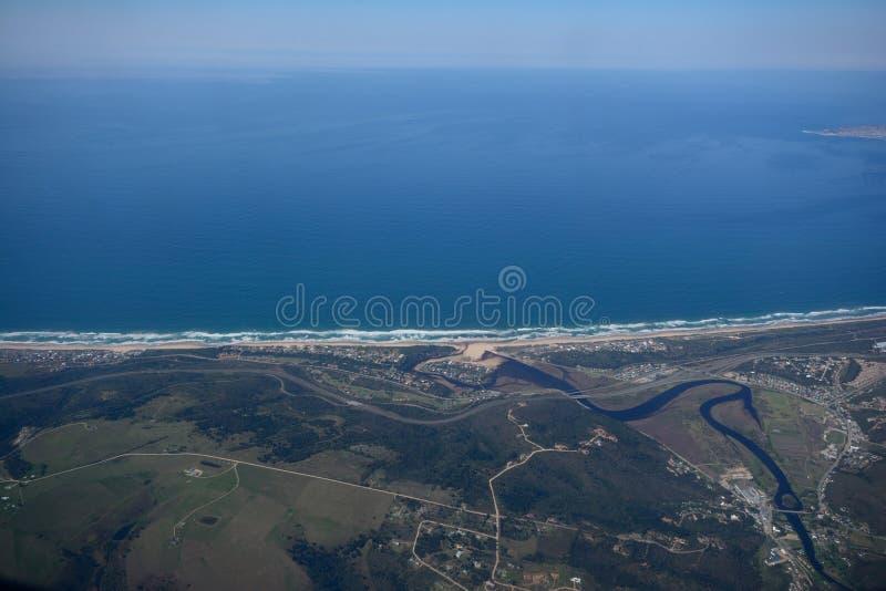Vista aérea de Great Brak River imagens de stock royalty free