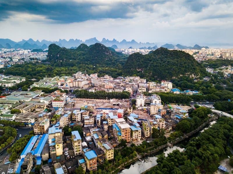 Vista aérea de Guilin, ciudad famosa del viaje en China fotografía de archivo