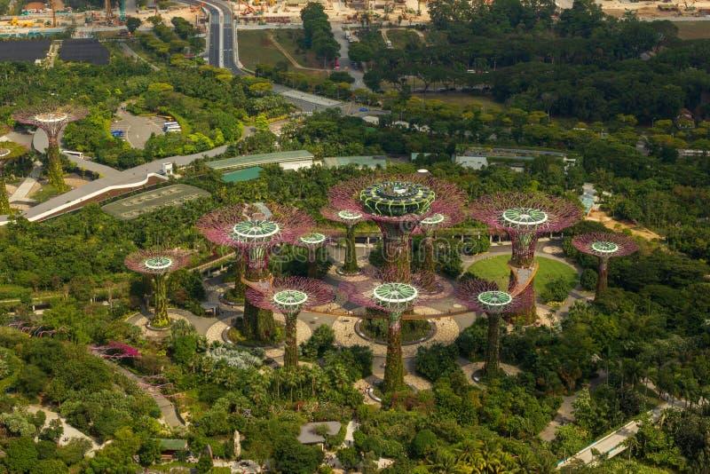 Vista aérea de jardines por la bahía en un día soleado, Singapur fotos de archivo