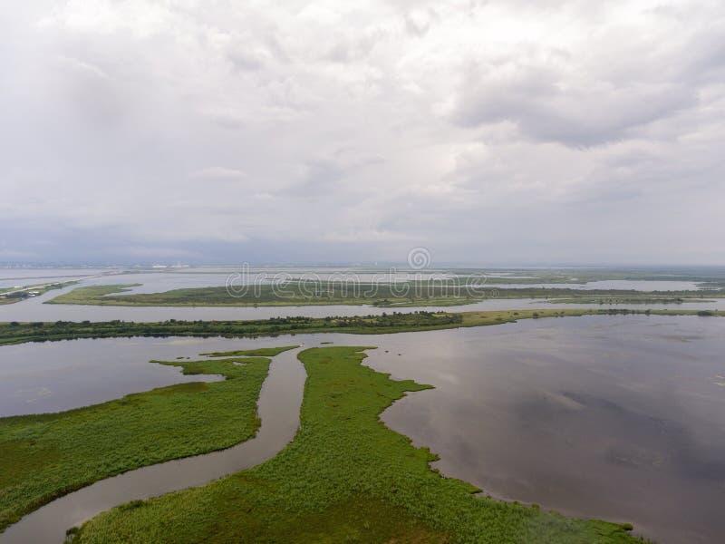 Vista aérea de la bahía móvil, Alabama imagenes de archivo