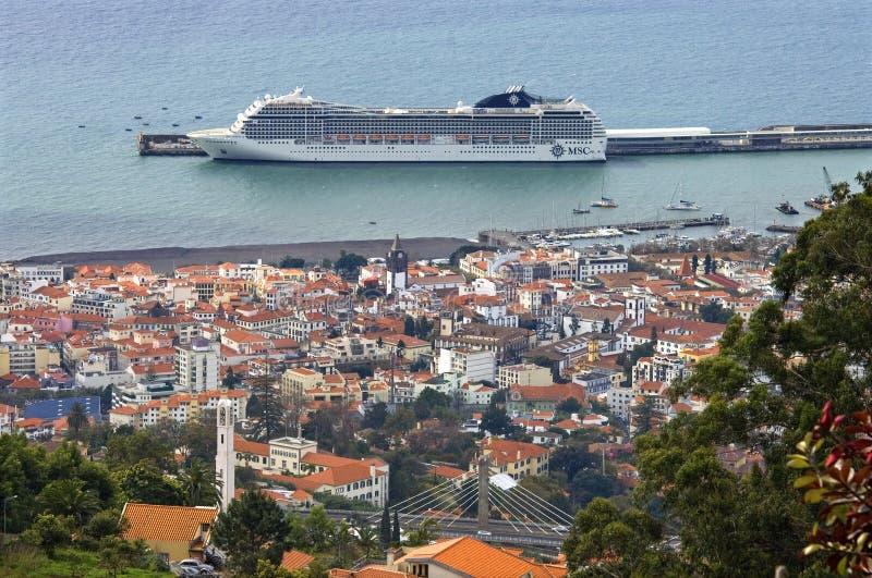 Vista aérea de la capital Funchal, isla Madeira foto de archivo libre de regalías