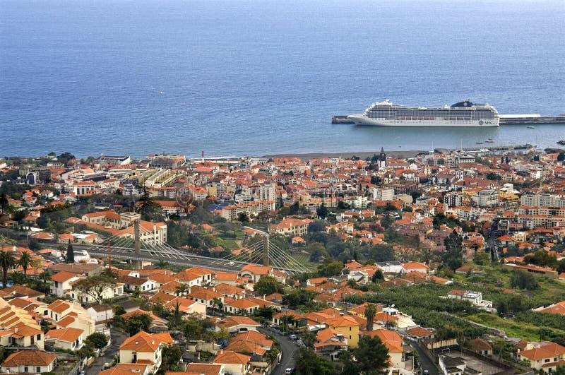 Vista aérea de la capital Funchal, isla Madeira imagen de archivo libre de regalías