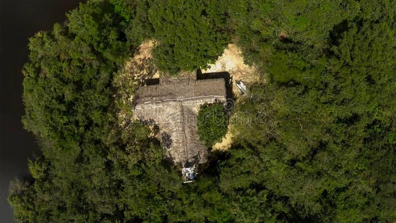 Vista aérea de la choza sola en el medio de una selva tropical de la selva fotografía de archivo libre de regalías