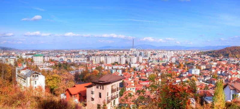 Vista aérea de la ciudad de Brasov foto de archivo