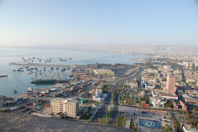 Vista aérea de la ciudad de Arica, Chile imagen de archivo libre de regalías