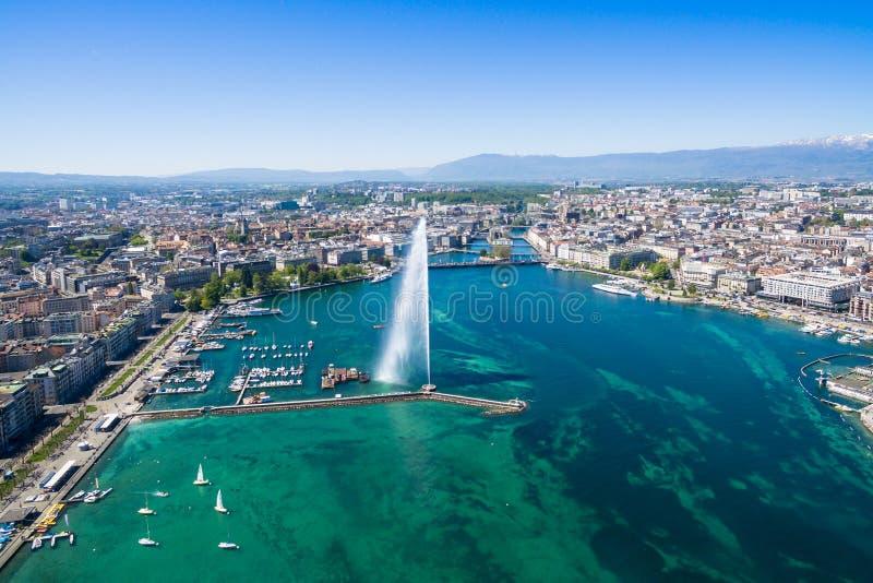 Vista aérea de la ciudad de Ginebra - Suiza foto de archivo libre de regalías