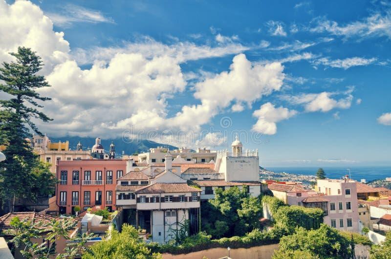 Vista aérea de la ciudad de La Orotava Señales de centro históricas y arquitectura de La Orotava fotos de archivo