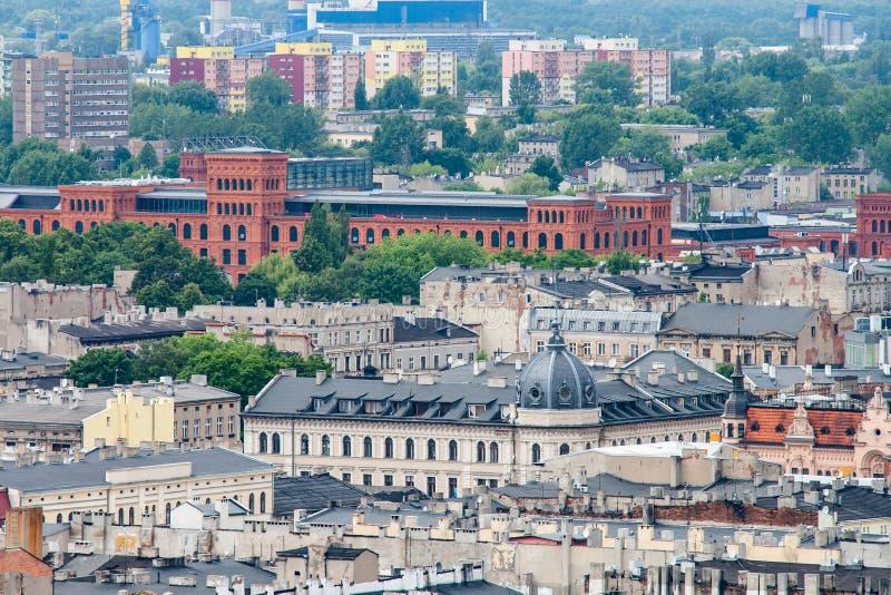 Vista aérea de la ciudad de Lodz (dź) del ³ del  à de Å, Polonia fotos de archivo
