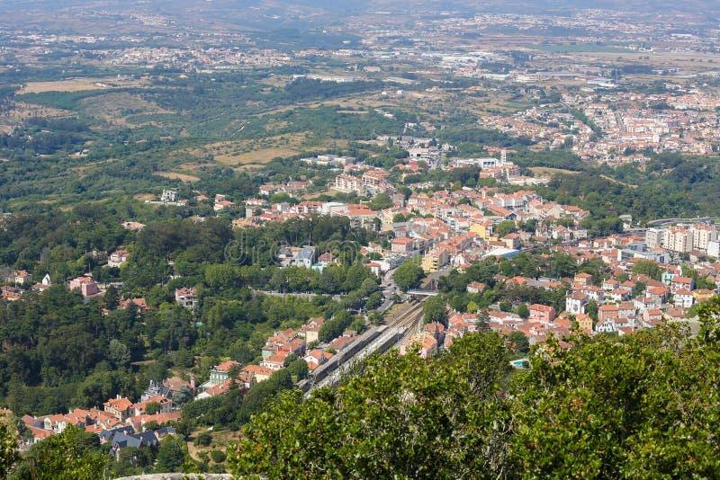 Vista aérea de la ciudad de Sintra, Portugal imágenes de archivo libres de regalías