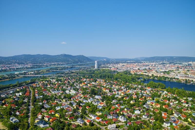 Vista aérea de la ciudad de Viena, Austria foto de archivo libre de regalías