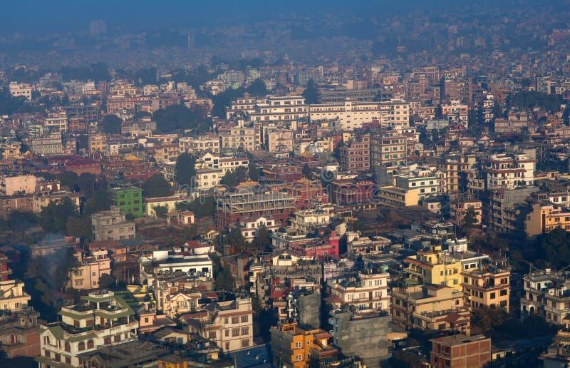 Vista aérea de la ciudad de Katmandu, Nepal foto de archivo libre de regalías