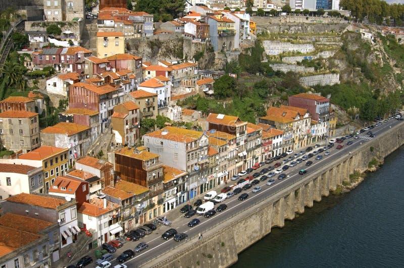 Vista aérea de la ciudad Oporto con el río y el atasco imagen de archivo