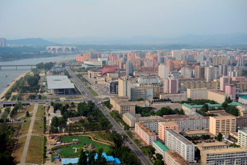 Vista aérea de la ciudad, Pyongyang, Norte-Corea fotos de archivo