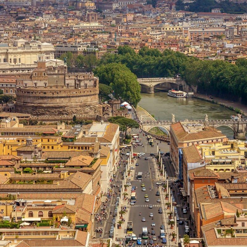 Vista aérea de la ciudad Roma foto de archivo libre de regalías