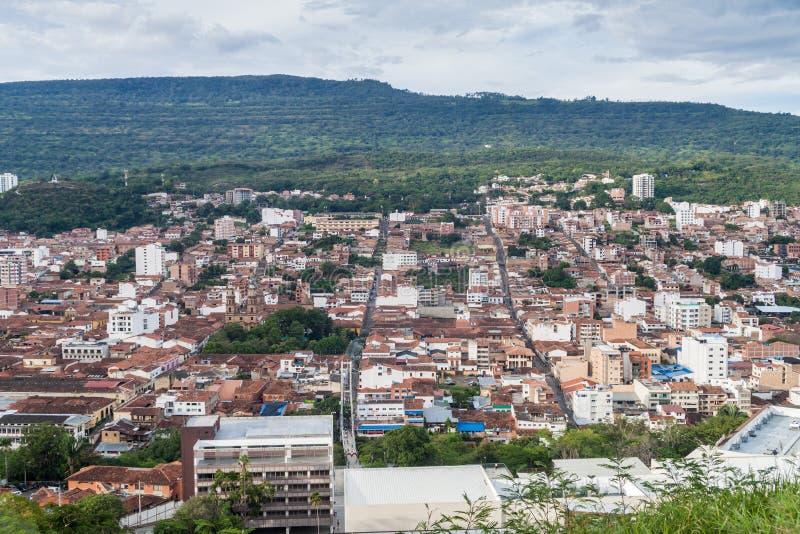 Vista aérea de la ciudad de San Gil imagen de archivo libre de regalías