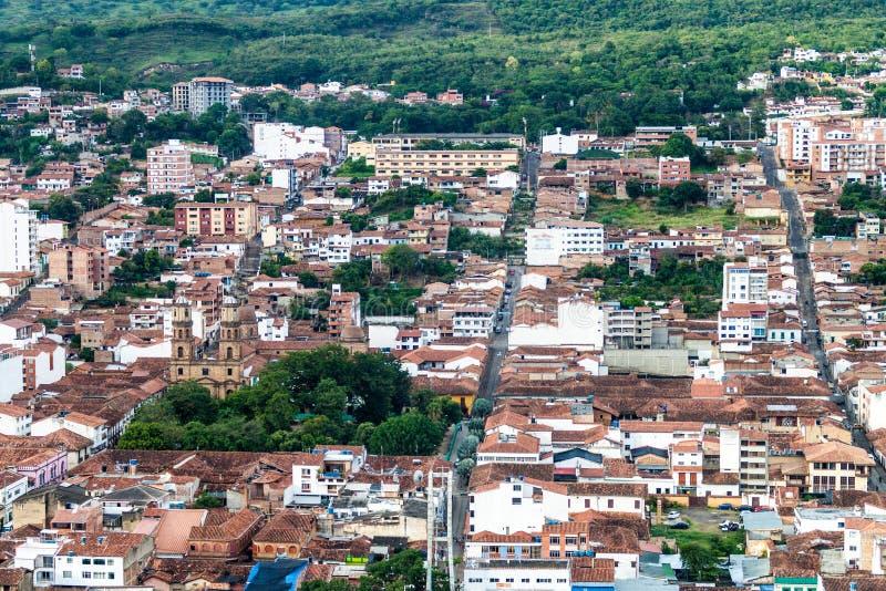 Vista aérea de la ciudad de San Gil foto de archivo libre de regalías