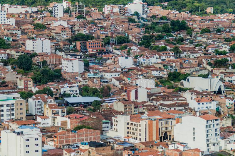Vista aérea de la ciudad de San Gil imagenes de archivo