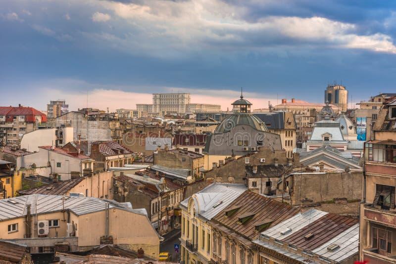 Vista aérea de la ciudad vieja Bucarest fotos de archivo libres de regalías