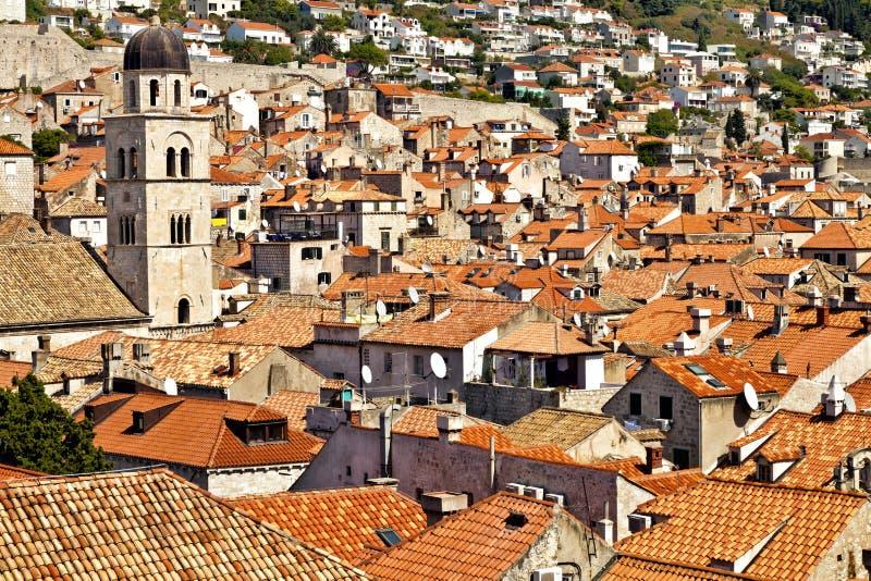 Vista aérea de la ciudad vieja de Dubrovnik imagen de archivo libre de regalías