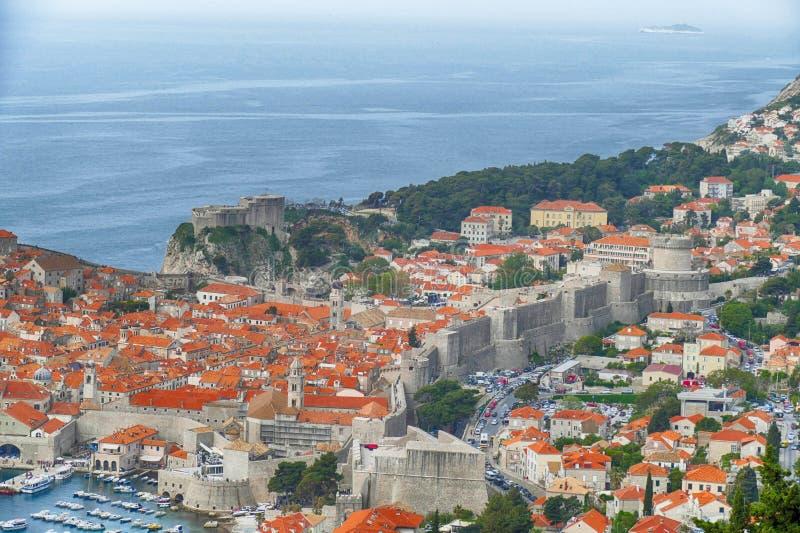 Vista aérea de la ciudad vieja de Dubrovnik fotografía de archivo