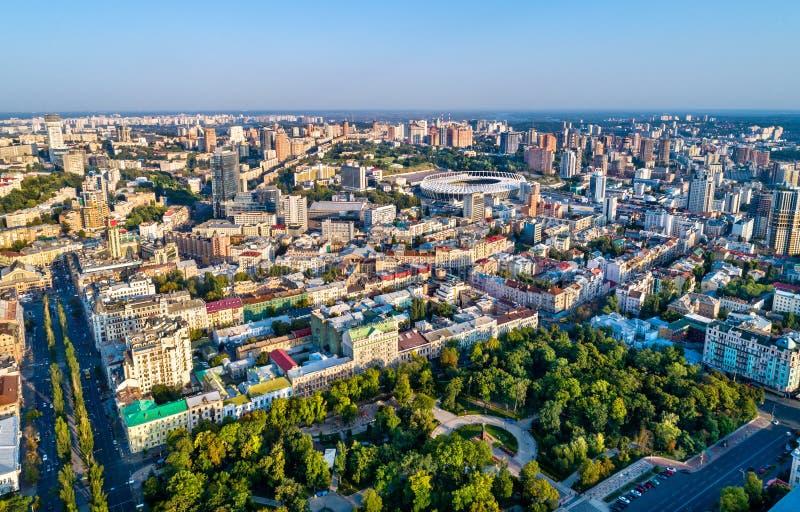Vista aérea de la ciudad vieja de Kiev, Ucrania fotos de archivo