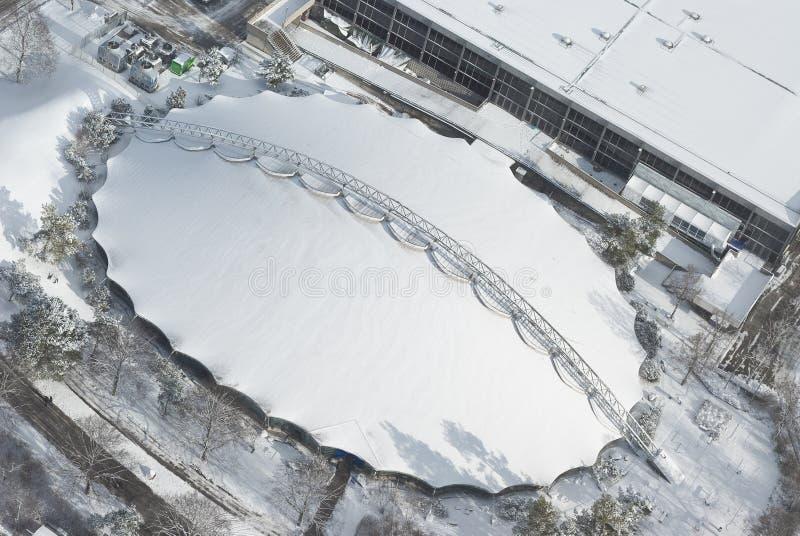 Vista aérea de la configuración moderna fotos de archivo