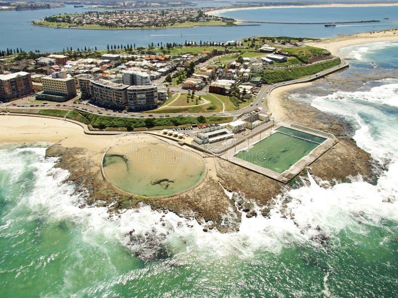 Vista aérea de la costa costa de Newcastle fotografía de archivo libre de regalías
