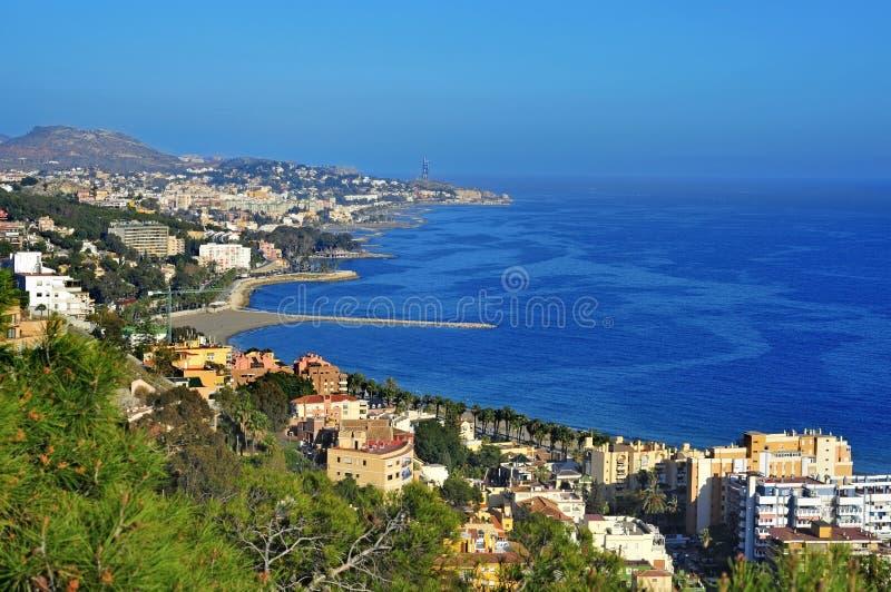 Vista aérea de la costa costa norteña de Málaga fotografía de archivo